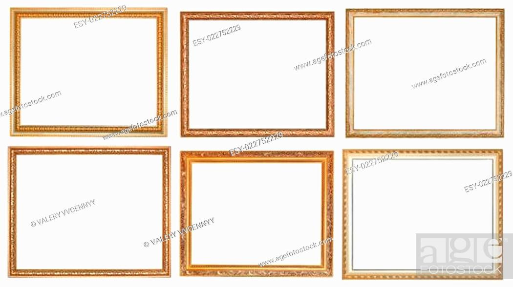 Stock Photo: set of ancient classic wooden picture frames.