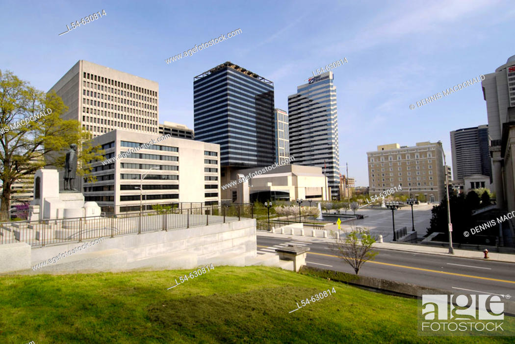 Stock Photo: Skyline Cityscape of Nashville from the grounds of the State Capitol.  Nashville Tennessee. USA.