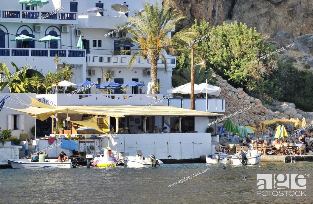 Stock Photo: Hotel and beach in Loutro, Crete, Greece.