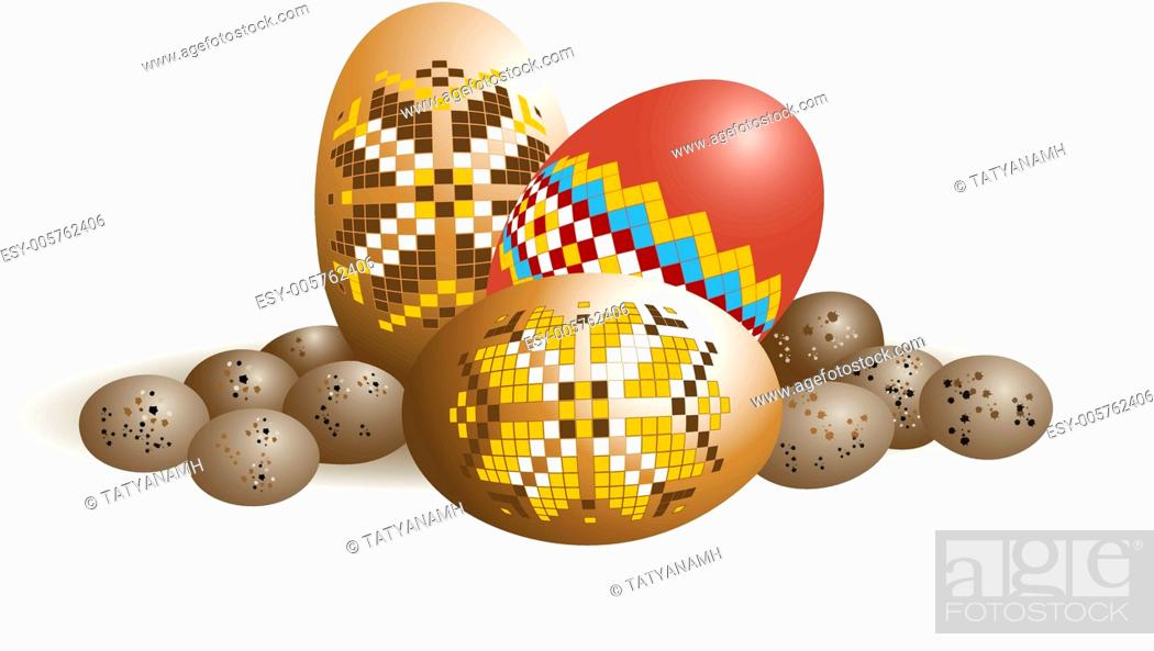 Stock Vector: Ornamented Easter eggs and quail eggs.