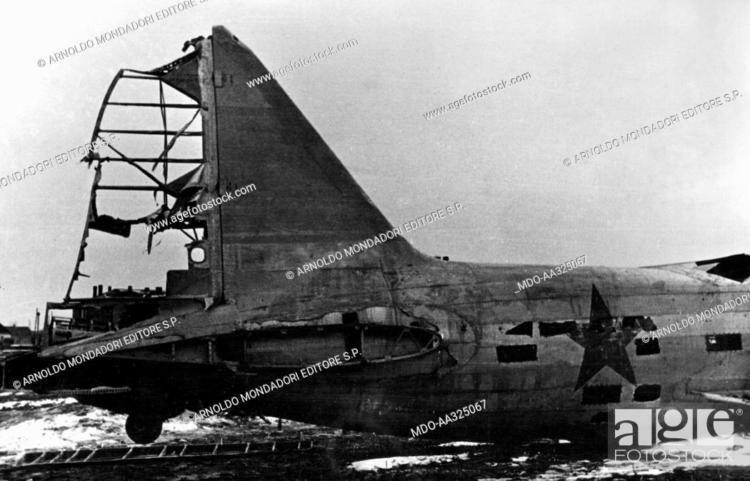 Stock Photo: Soviet bomber. The rear of a Soviet bomber shot down during the Kharkiv-Izyum battle. Ukraine, May 1942.