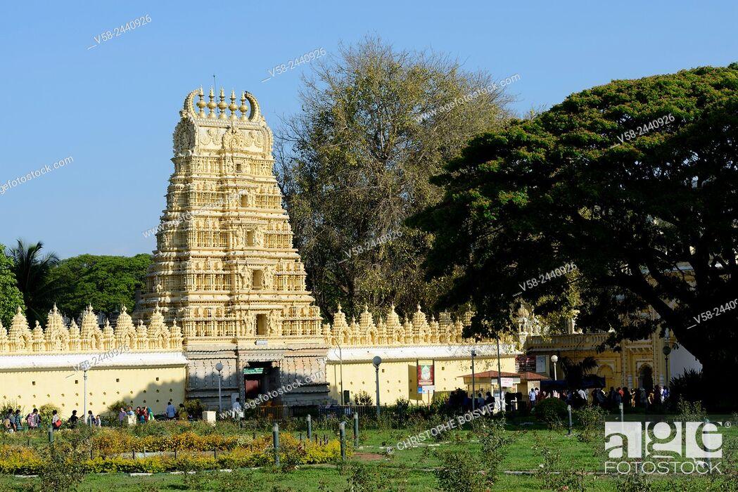 Stock Photo: Shwetha Varahaswamy Temple, Mysore palace, Karnataka, India.