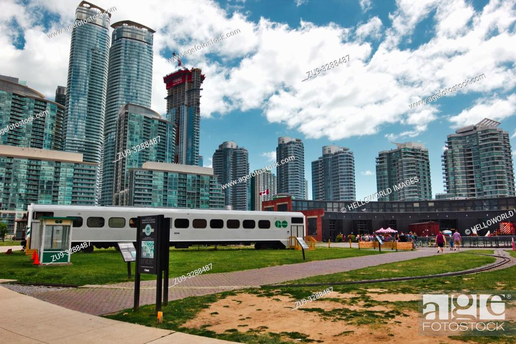 Stock Photo: Toronto Railway Museum, Roundhouse Park, Toronto, Ontario, Canada.