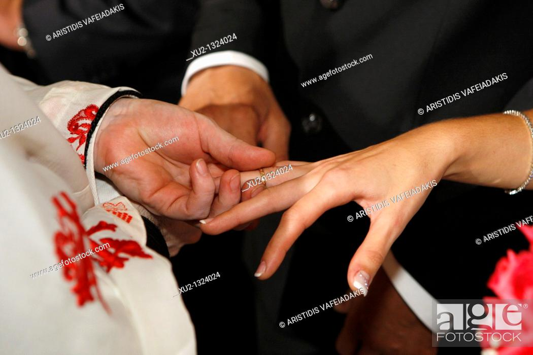 Stock Photo: Greek Orthodox wedding. Athens, Greece.