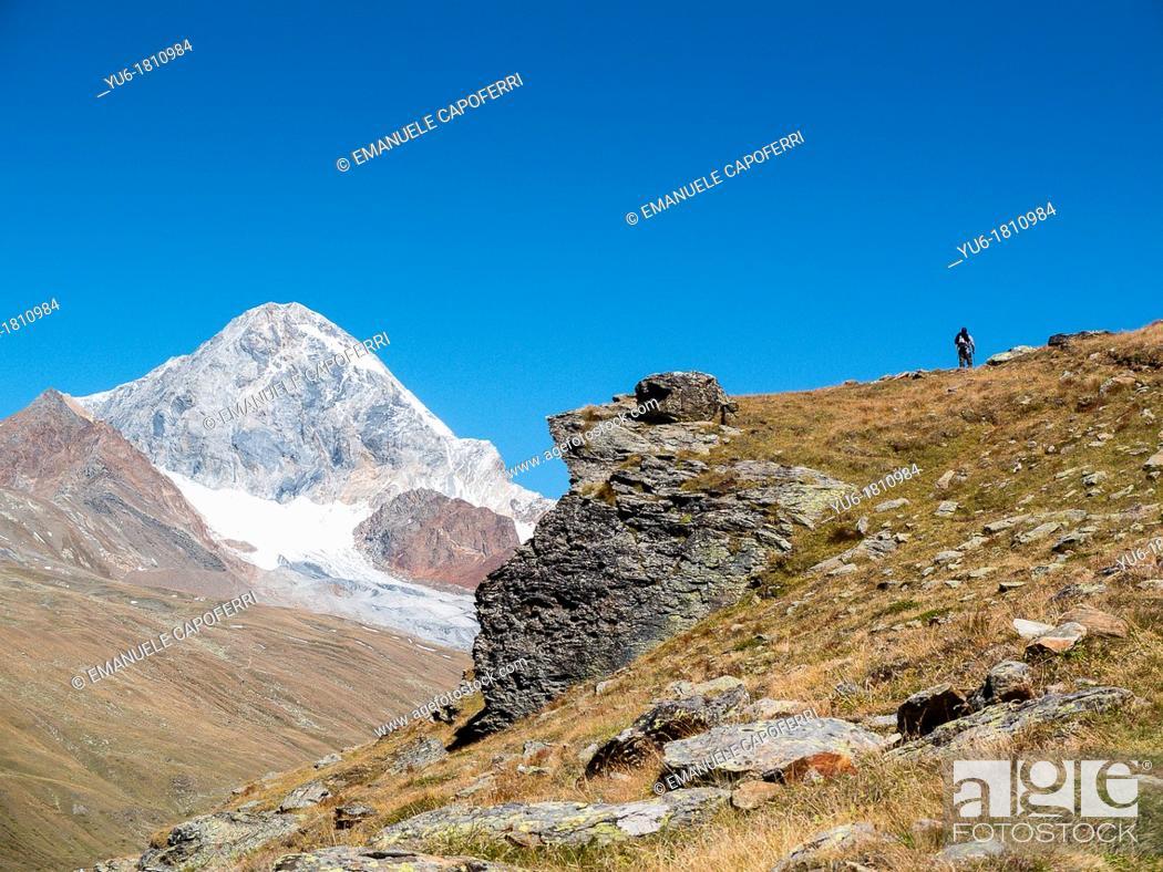 Stock Photo: valley of Forni Mount Gran Zebrù background, Valtellina, Valfurva, Lombardy, Italy.