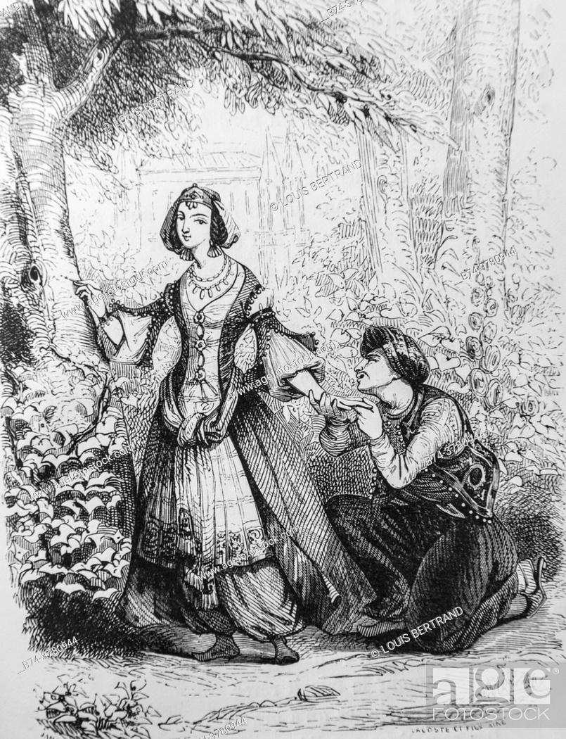 Stock Photo: la fiancee du roi de garde, , tales of the fountain publisher garnier freres 1870.