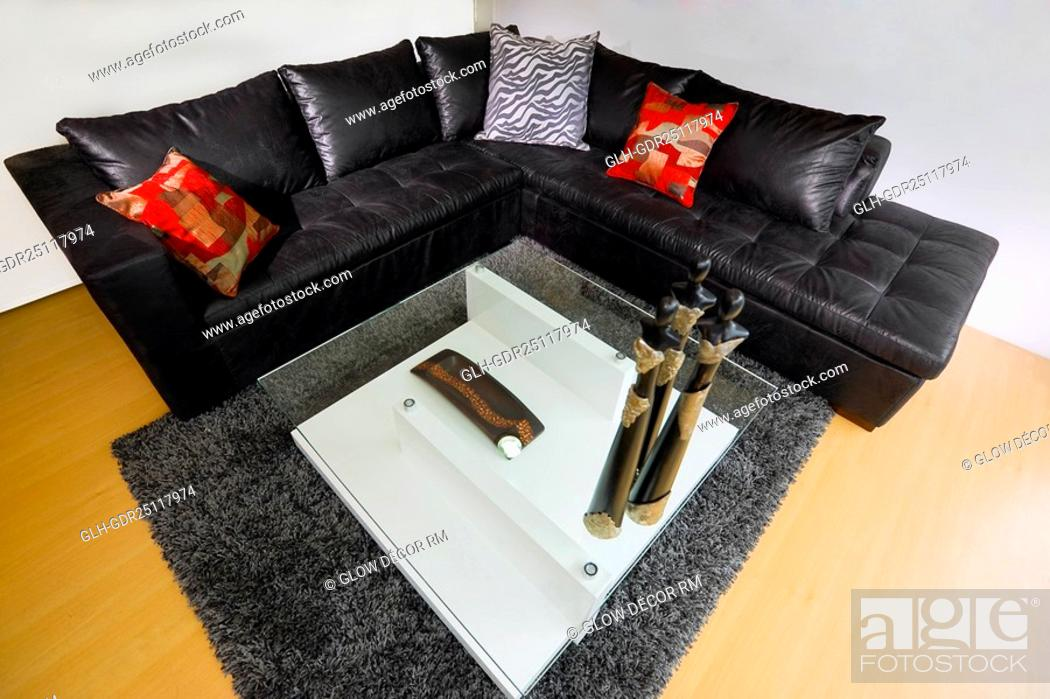 Photo de stock: High angle view of a living room.