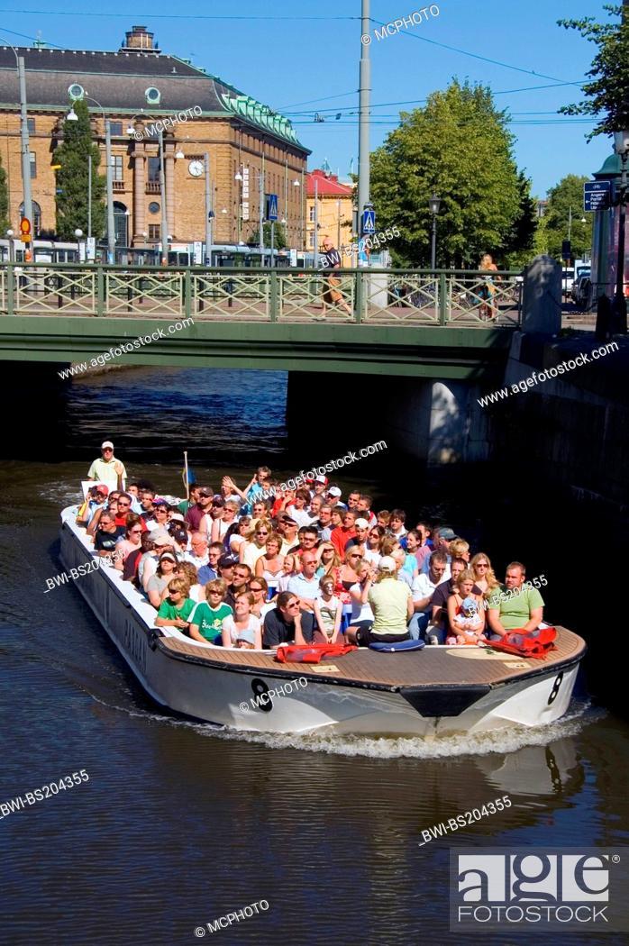 Stock Photo: excursion boat Paddan on a chanal of Goeteborg near Drottningtorget, Sweden, Goeteborg.