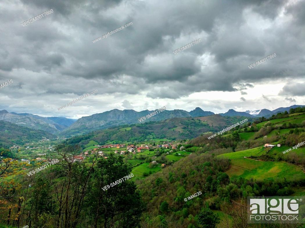 Stock Photo: Canzana village, Laviana municipality, Asturias, Spain.