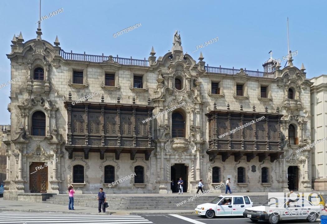 Stock Photo: Facade of palace in city, Archbishops Palace, Lima, Lima Province, Lima Region, Peru.