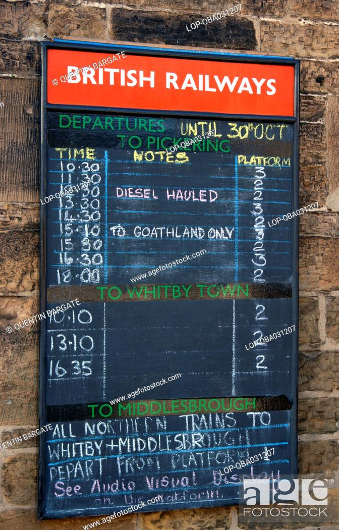 Stock Photo: England, North Yorkshire, Grosmont. Old fashioned British Railways departures board at Grosmont station on the North Yorkshire Moors Railway.