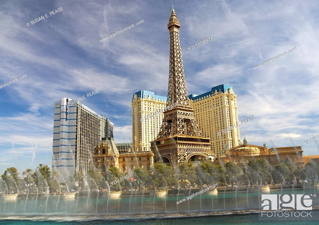 Stock Photo: The Bellagio Fountains, with the Paris Las Vegas Hotel and Casino in the background  Las Vegas, Nevada, United States.