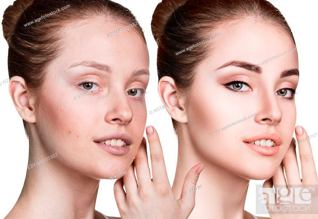 Imagen: Comparison portrait of young woman without and with makeup.