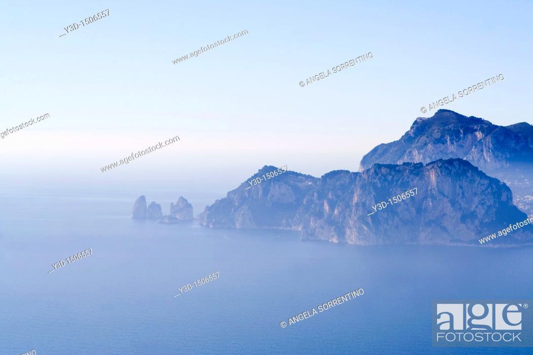 Stock Photo: Capri isalnd seen from punta Campanella, Sorrento peninsula, Campania, Italy.