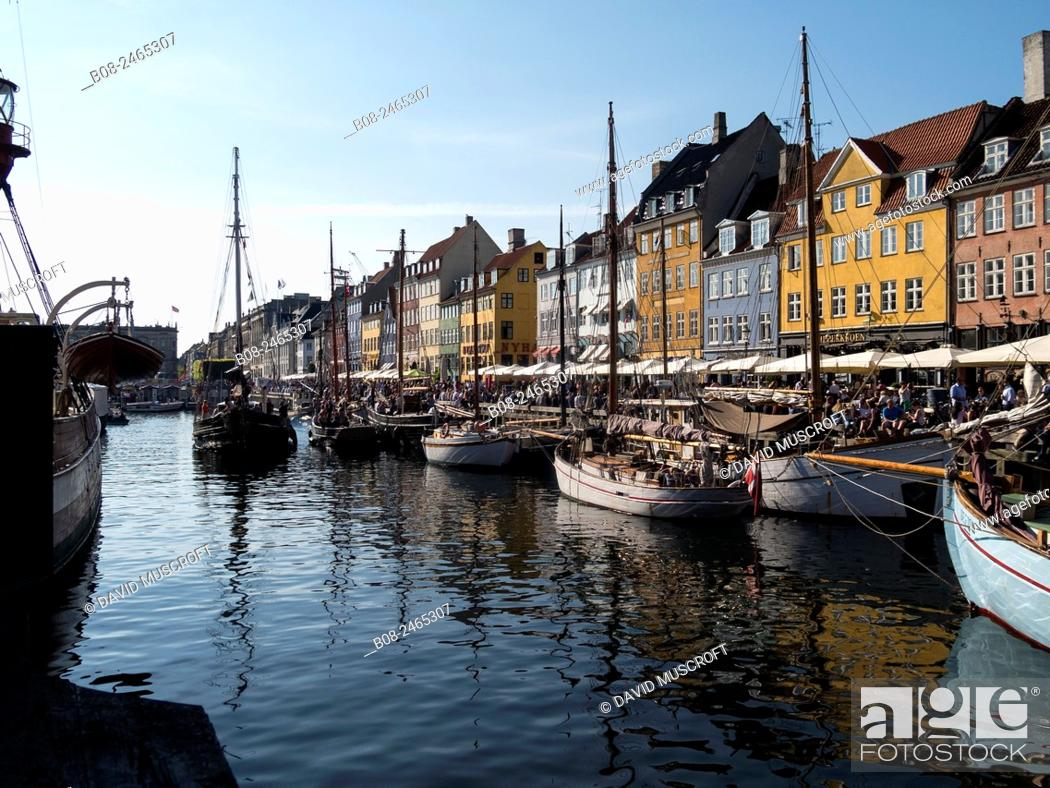 Stock Photo: Yachts and traditional boats in the Nyhavn harbour area, Copenhagen, Denmark.