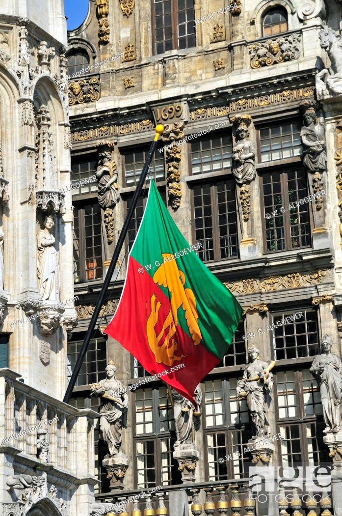 Stock Photo: flag of Brussels at the facade of gothic town hall at Grand Place, Belgium, Brussels.