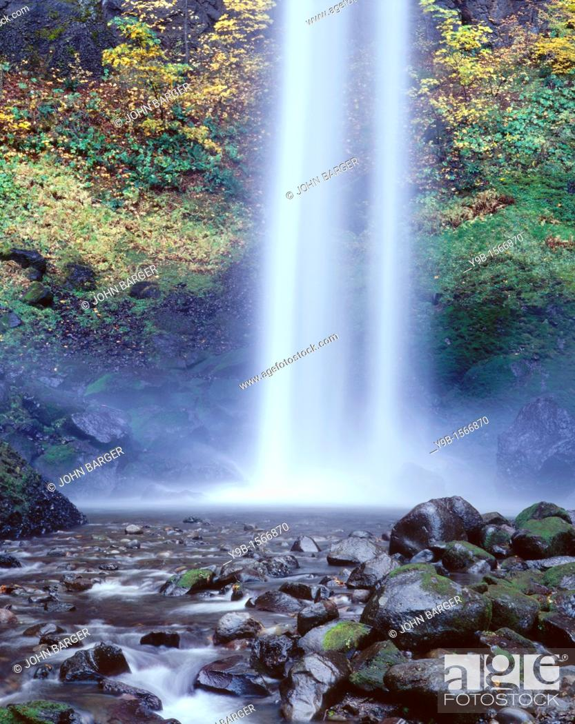 Stock Photo: Base of Lower Elowah Falls and early autumn colors, Columbia River Gorge National Scenic Area, northern Oregon, USA.