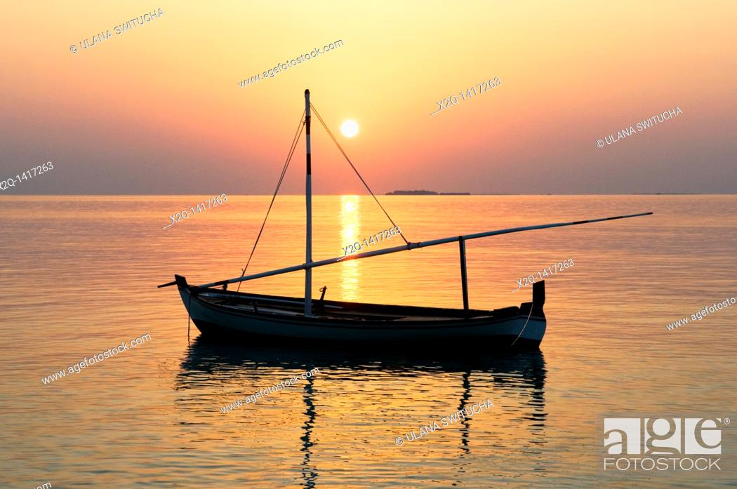 Stock Photo: Traditional dhoni or dorni boat Maldives.