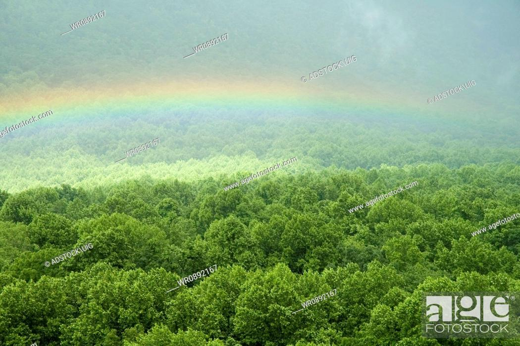 Stock Photo: Rainbow, Bullhead Overlook, Great Smoky Mtns Nat. Park, TN.