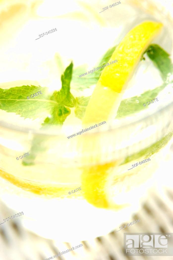 Stock Photo: water, lemon and mint.