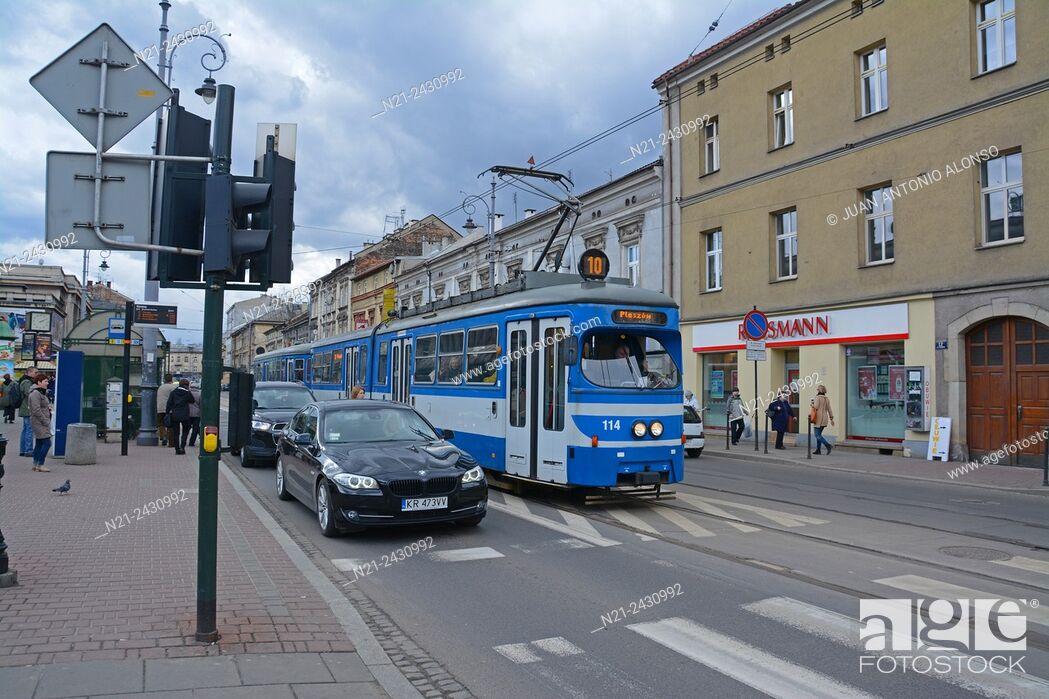 Stock Photo: Tram and traffic at the Podgorze area. Krakov, Poland, Europe.