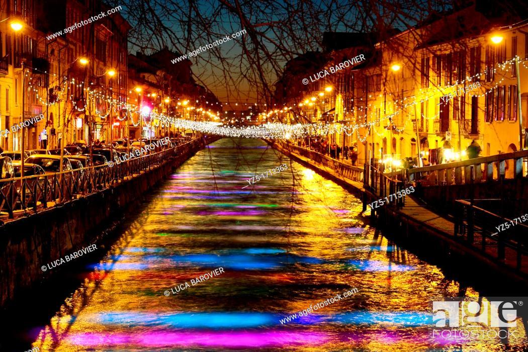 Stock Photo: Lighted river during Christmas - Naviglio Grande, Milano Italy.