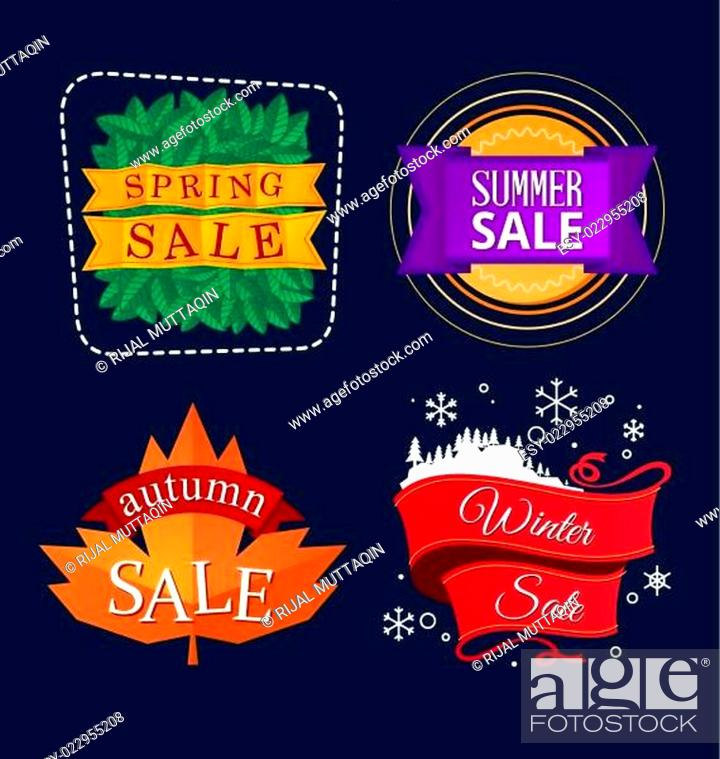 Stock Vector: various seasonal sale event tittle.