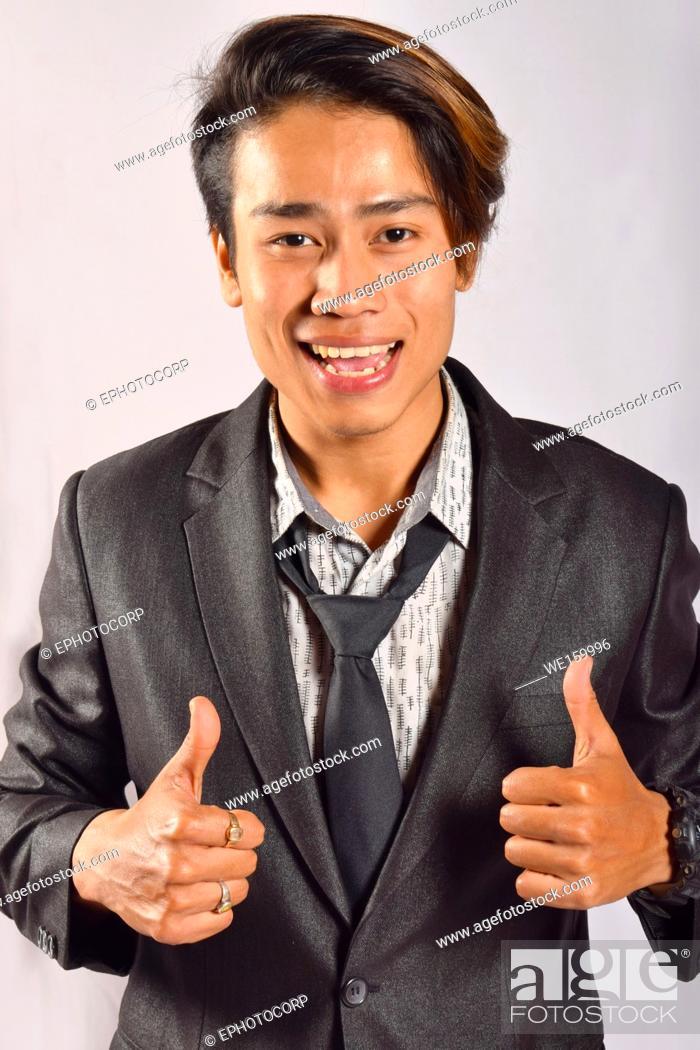 Stock Photo: Indian male model saying OK with a happy expression, Pune, Maharashtra.