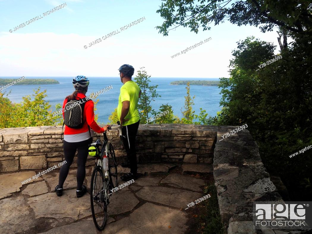 Stock Photo: Bicyclists at Eagle Panorama in Peninsula State Park Door County Wisconsin.