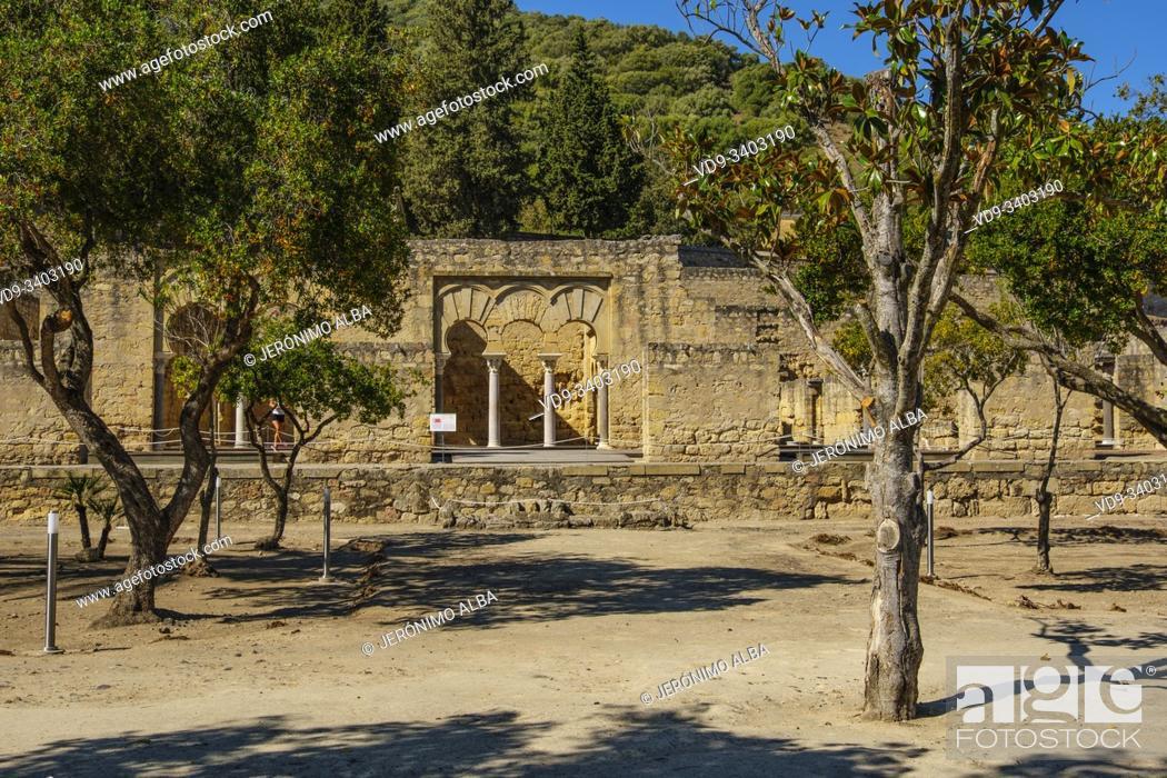 Stock Photo: UNESCO World Heritage Site, Medina Azahara. Archaeological site Madinat al-Zahra, upper basilica buiding. Cordoba. Southern Andalusia, Spain. Europe.