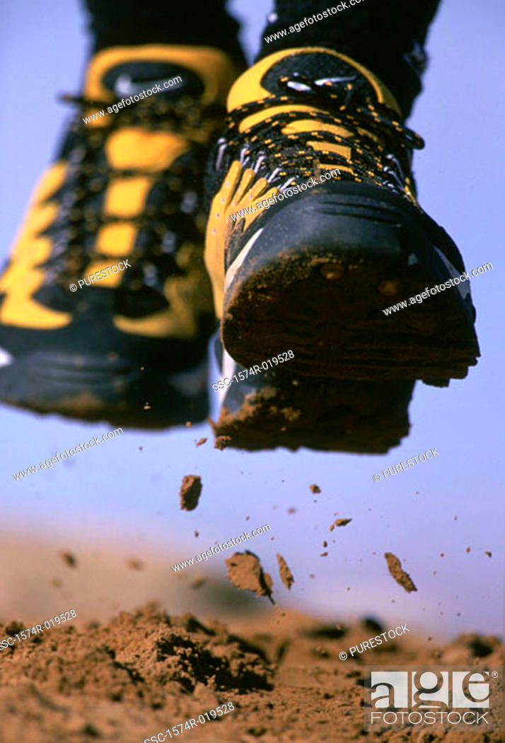 Stock Photo: Close-up of feet of person running.