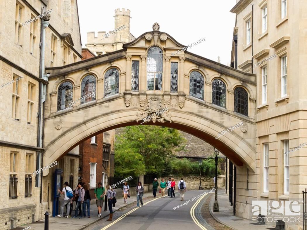Stock Photo: Hertford Bridge, popularly known as the Bridge of Sighs, over New College Lane in Oxford, England  The bridge was designed by Sir Thomas Jackson and completed.