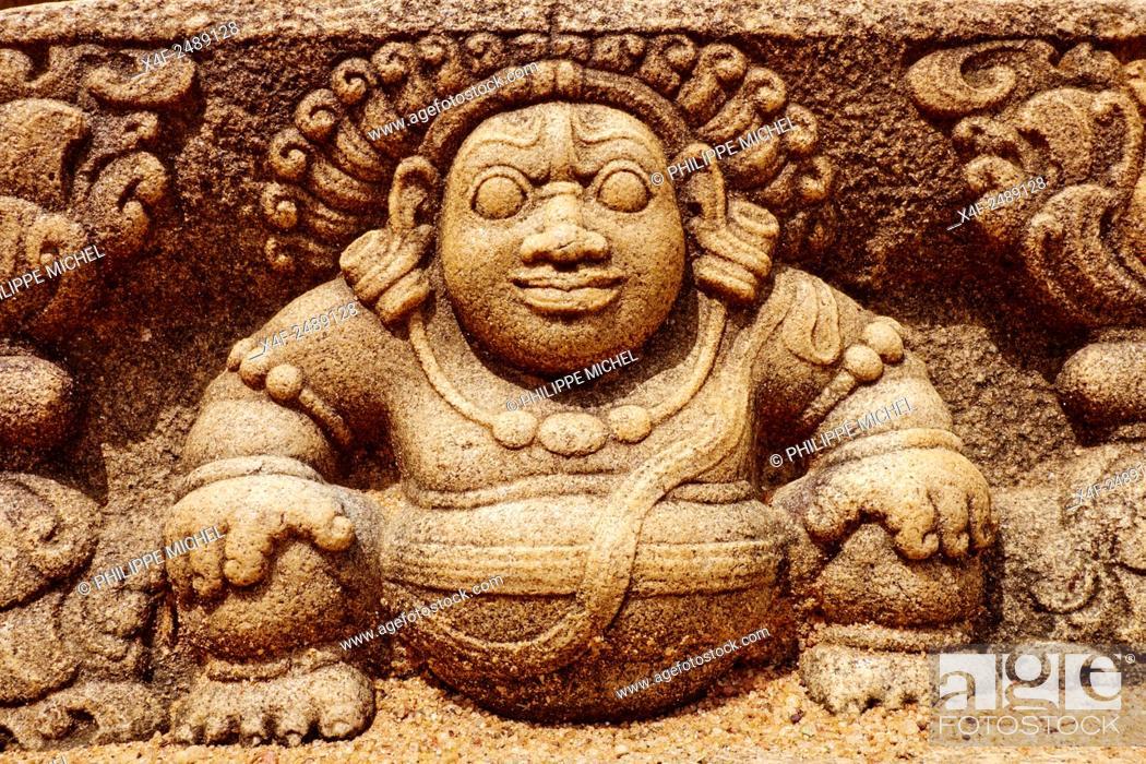 Stock Photo: Sri Lanka, Ceylon, North Central Province, Anuradhapura, historic capital of Sri Lanka, UNESCO World Heritage Site, Mahasena temple, Moon stone.