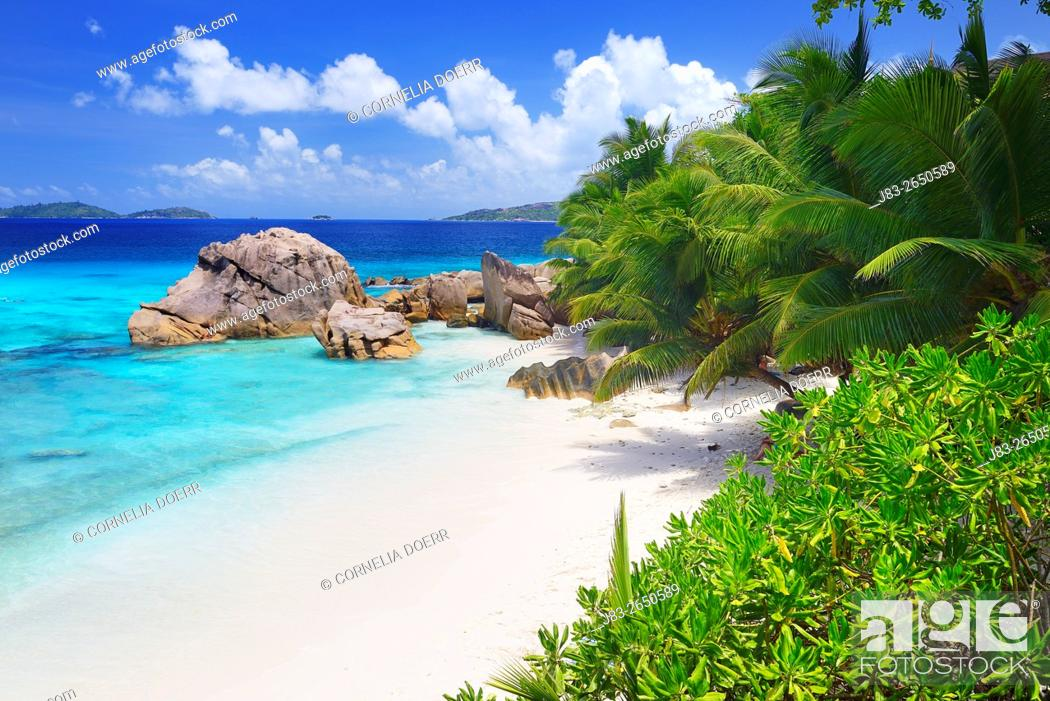 Stock Photo: Typical granite rock formations of Anse Patates Beach, La Digue Island, Seychelles, Indian Ocean, Africa.