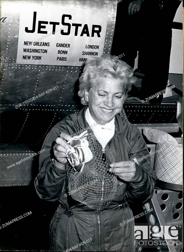 Stock Photo: Apr. 04, 1952 - The fastest Easter in her life.. experienced Jacqueline Cochran in a ten and a half hours' record flight with six intermediate landings.