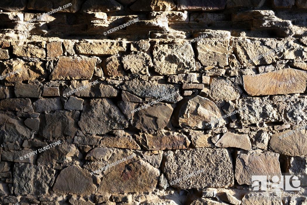 Stock Photo: Europe, Spain, Badajoz, Merida, Amphitheatre of Merida (Ancient Roman Ruins), Ancient stone wall supporting tunnel.