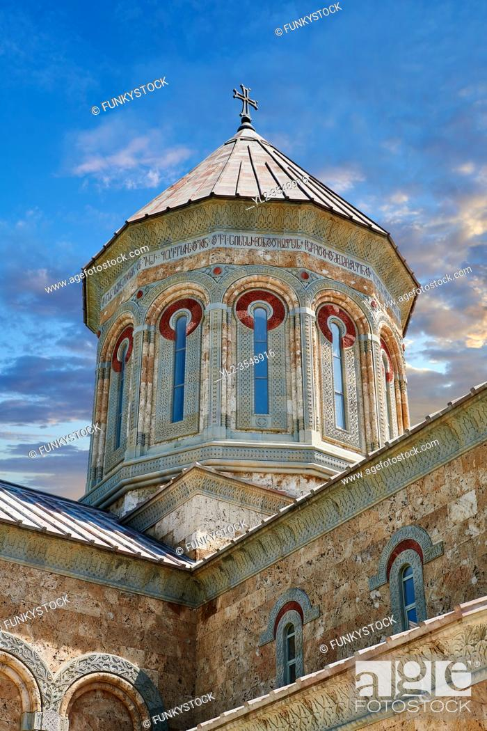 Stock Photo: Pictures & images of Georgian Classica style church at The Monastery of St. Nino at Bodbe, a Georgian Orthodox monastic complex and the seat of the Bishops of.