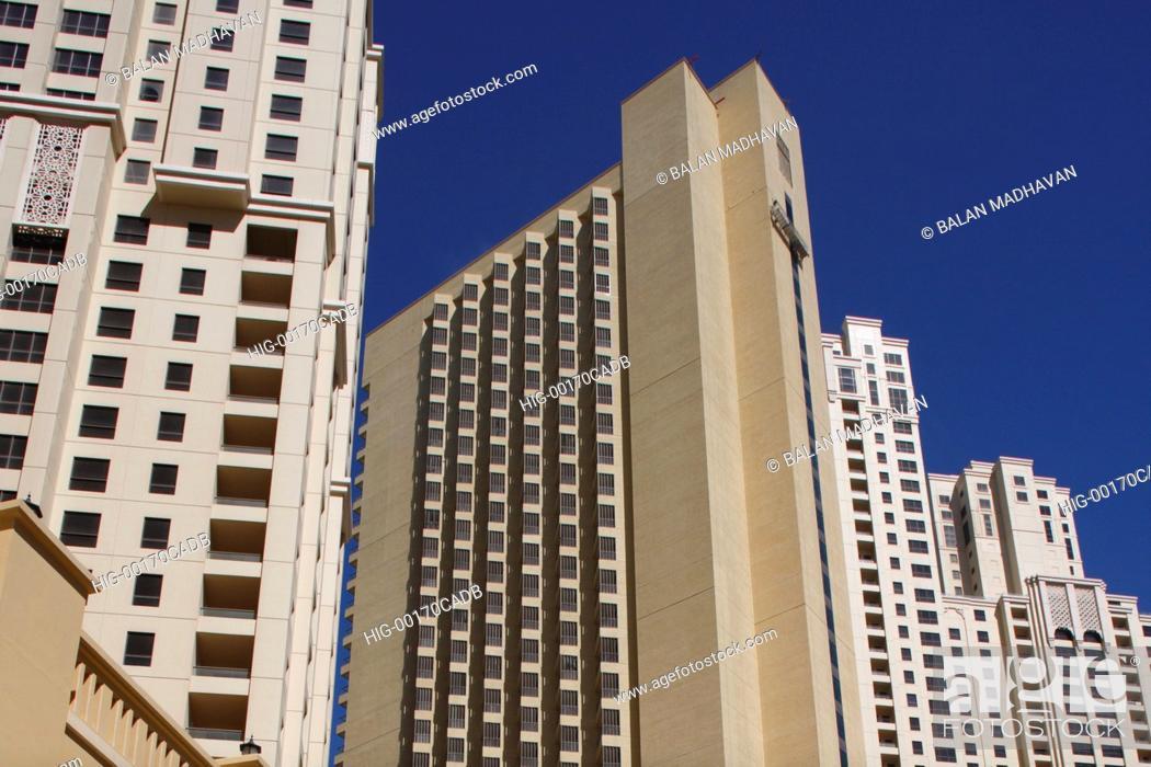 Stock Photo: HIGH RISE BUILDINGS IN DUBAI, UAE.