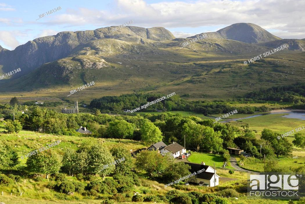 Stock Photo: Valley with church ruins in the hills of Donegal at the Poisoned Lake, County Donegal, Republic of Ireland, Europe.