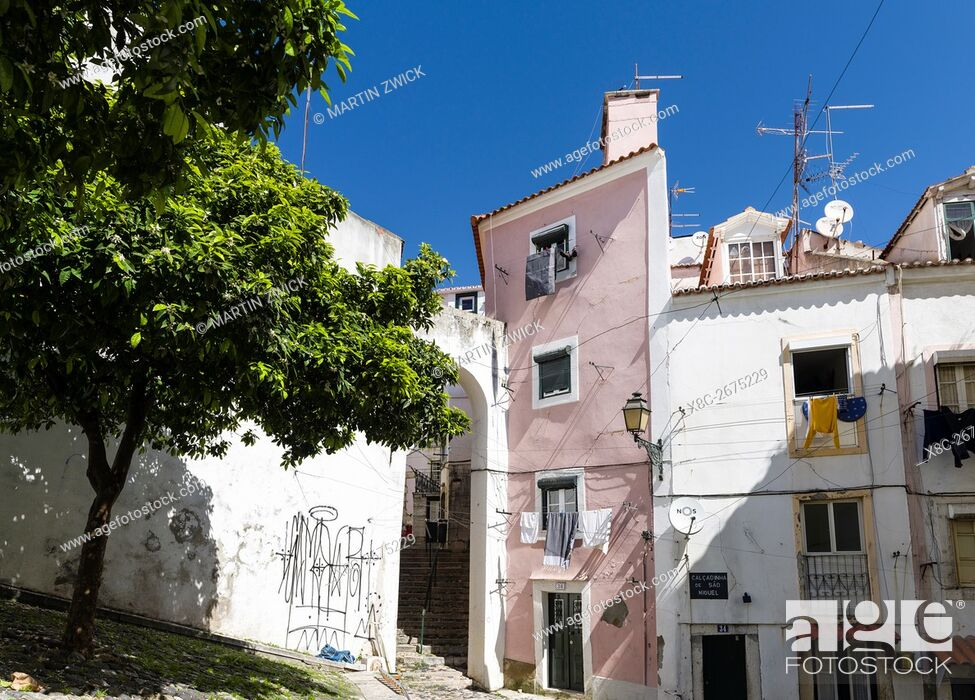 Stock Photo: The narrow lanes of the Alfama, an old town dating back to moorish times. Lisbon (Lisboa) the capital of Portugal. Europe, Southern Europe, Portugal, March.