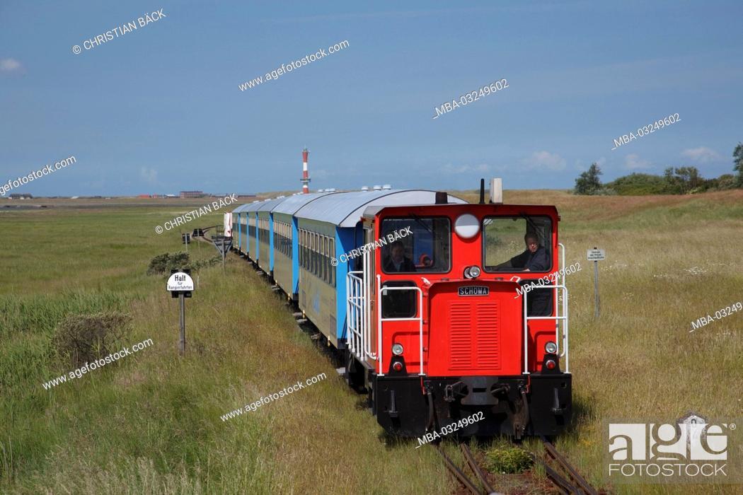 Stock Photo: The island train on the island Wangerooge, the East Frisians, Lower Saxony, Germany, Europe,.