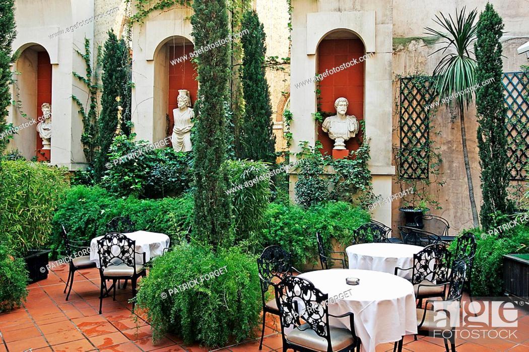Stock Photo: VERDANT PATIO, INTERIOR GARDEN, CROWNE PLAZA HOTEL, PLACE DU CAPITOLE, TOULOUSE, HAUTE-GARONNE 31, FRANCE.