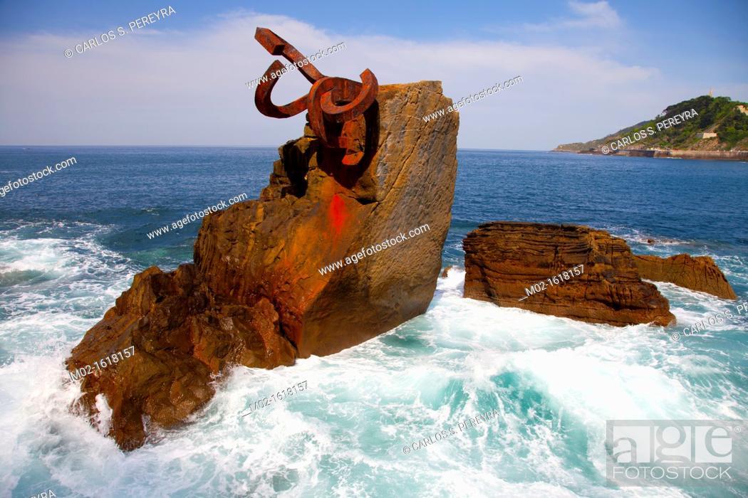 Stock Photo: Peine del Viento sculpture by Eduardo Chillida, San Sebastian, Donostia, Guipuzcoa, Basque Country, Spain.