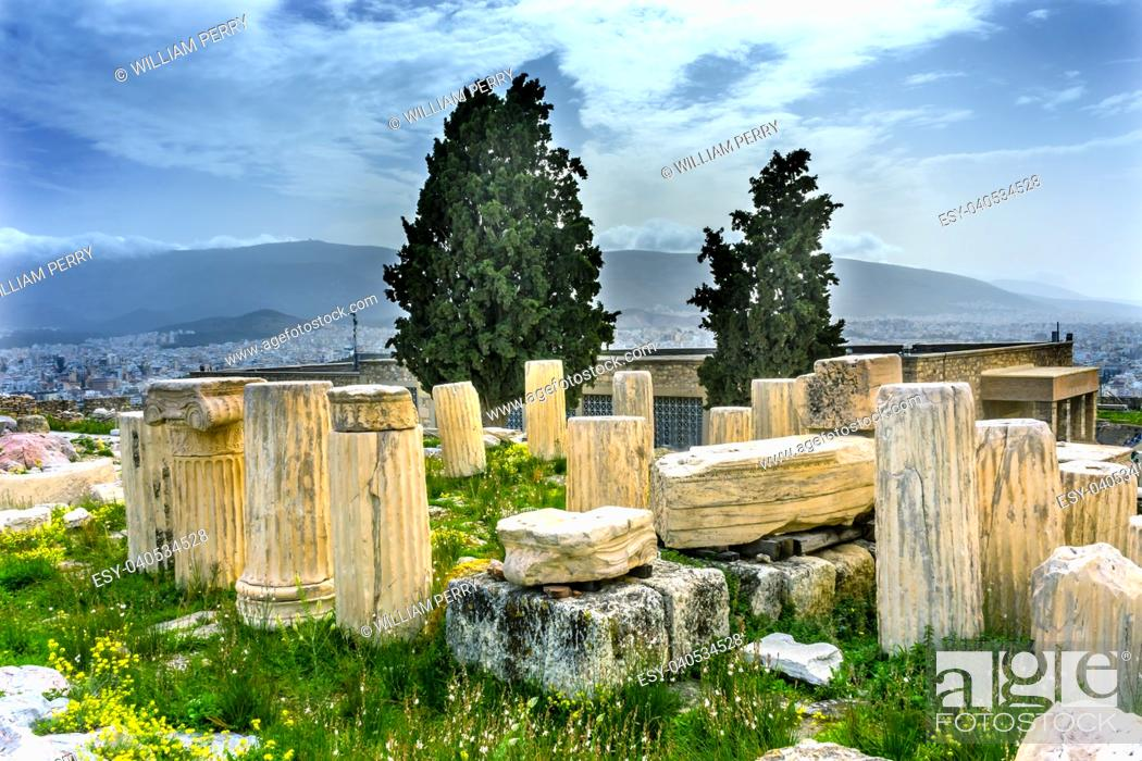 Stock Photo: Ruins Temple of Augustus Rome Acropolis Athens Greece. Temple of Augustus and Rome created on the Acropolis in 27 BC. Acropolis is the symbol of Greece.
