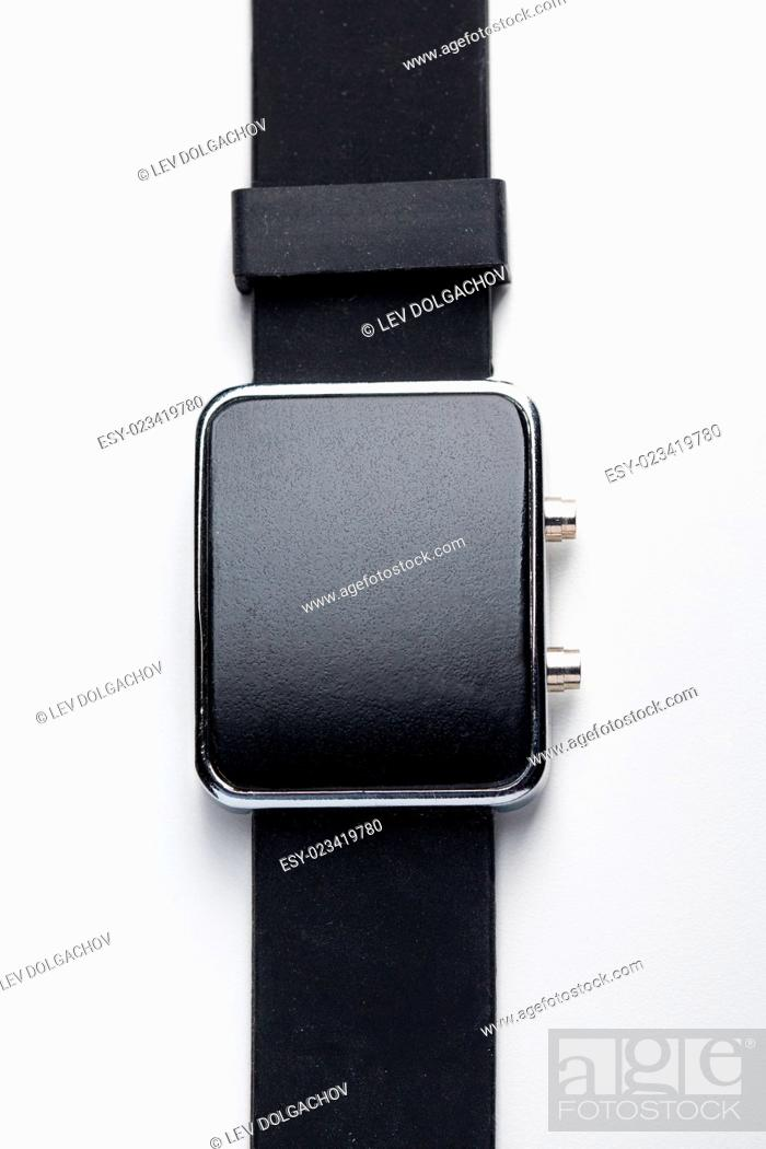 Stock Photo: modern technology, time, object and media concept - close up of black smart watch.