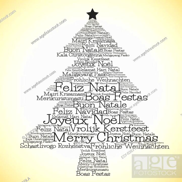 Merry Christmas In Different Languages.Christmas Tree Made From Merry Christmas In Different