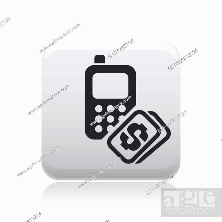 Stock Vector: Vector illustration of single phone cost icon.