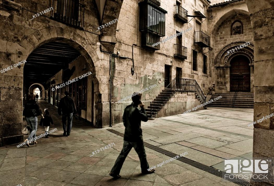 Stock Photo: Mayor Square of Salamanca and St  Martin's Church, Castilla y León, Spain.