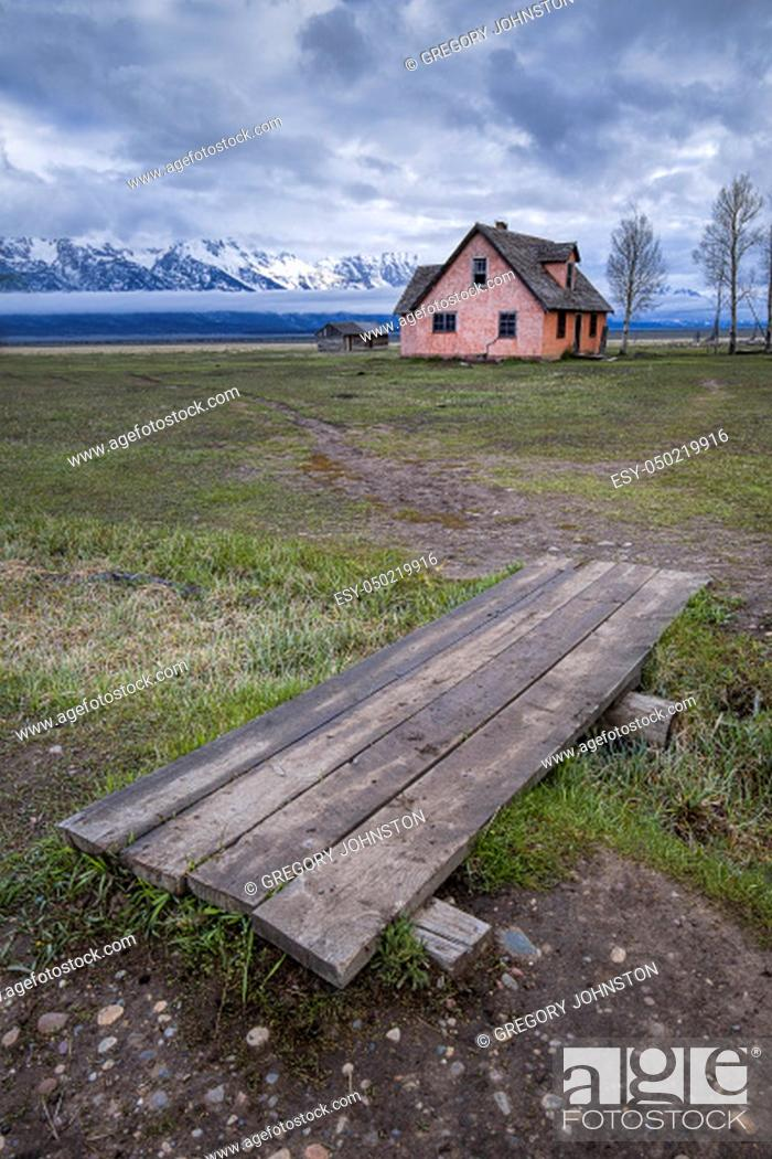 Stock Photo: The lesser photographed old house at the Mormon Row in Grand Teton National Park in Wyoming.