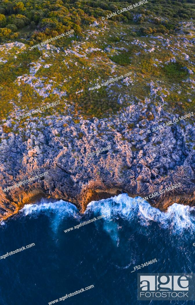 Stock Photo: Aerial View, Karst, Islares, Cantabrian Sea, Cantabria, Spain, Europe.